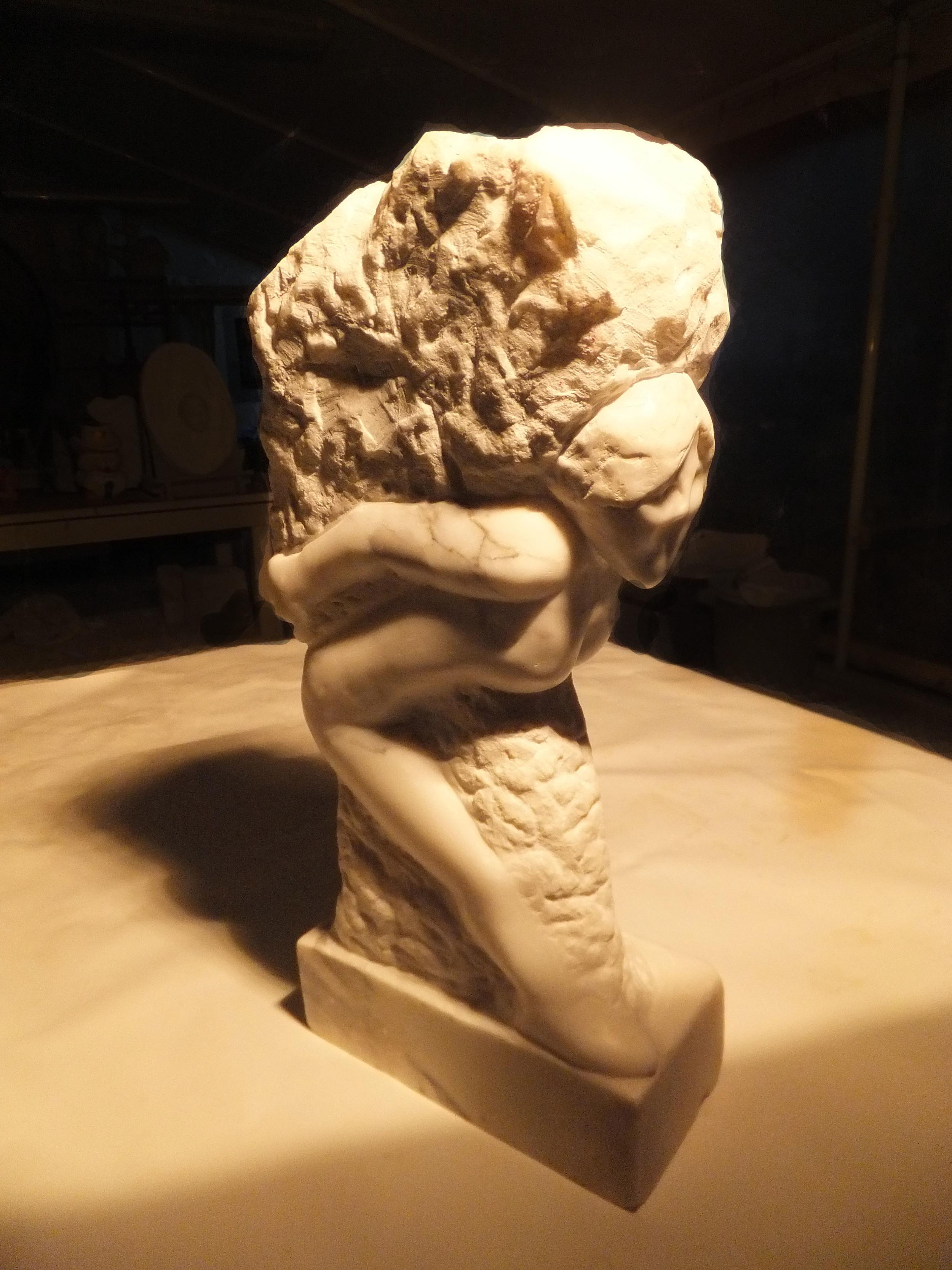 "Self Portrait in Marble  Carrara White Marble  20"" X 8"" X 4""  2014"