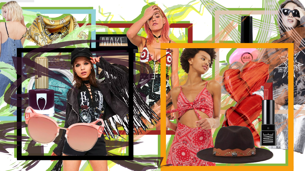 Graphic treatment for editorial on how to dress for Coachella inspired by your favorite bands.
