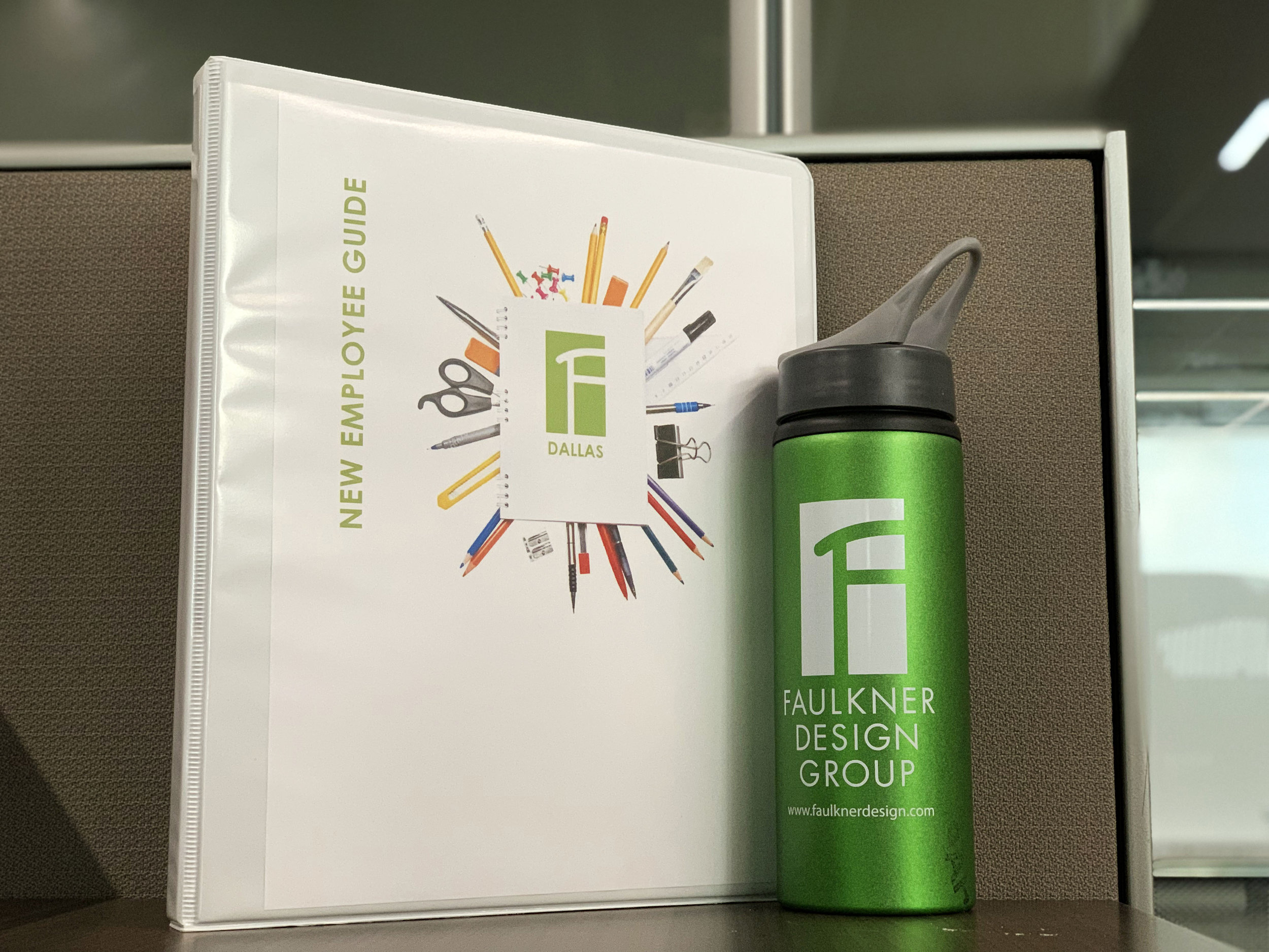 My handy-dandy New Employee Guide, complete with FDG water bottle, two of the many things I received upon my first week!