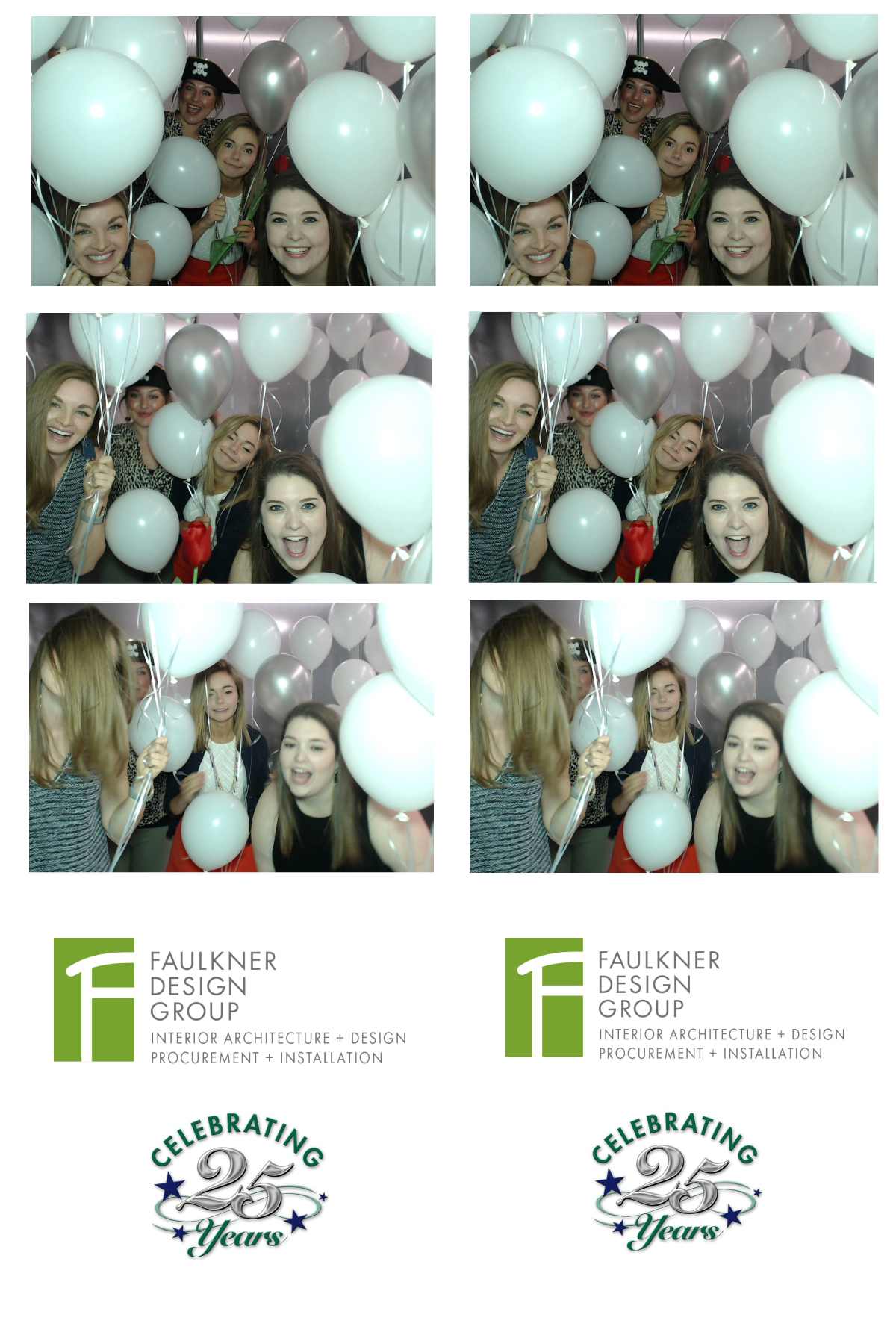 Some of our incredible designers celebrating FDG's 25th Anniversary with balloons at the photo booth!
