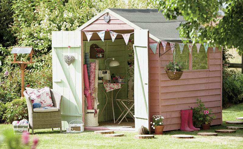 PAINT IT PRETTY A coat of pastel paint helps turn a shed into an outdoor room. This shed is from  Homebase's  Mercia shed range.  PUT OUT THE FLAGS Dress up your shed with pretty bunting for a festive summer look. Washable vintage style pennants £12.95 for 15,  www.dotcomgiftshop.com