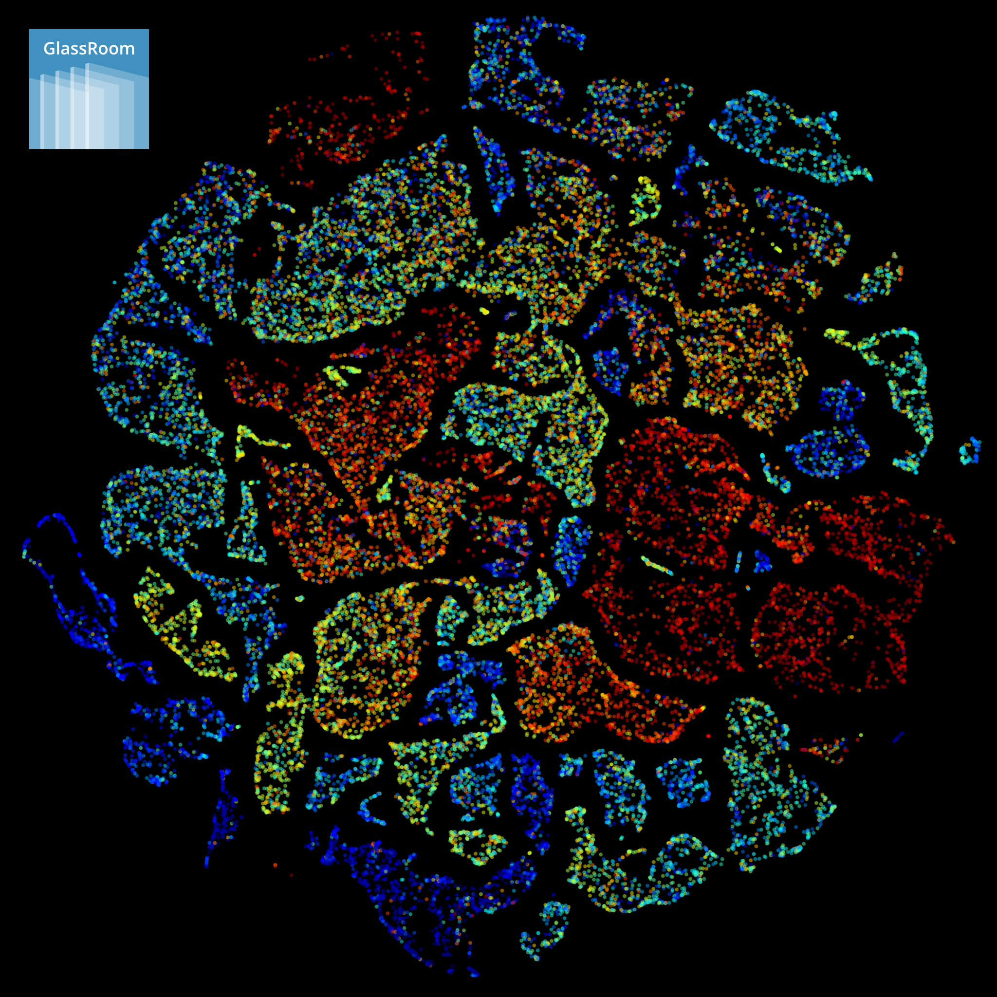 """Each point in this visualization of """"deep representations"""" is one public US company evaluated on a reporting date by Graham's deep learning system, in this case spanning a five-year period. Each deep representation is a high-dimensional vector of floating-point numbers, which we map to two dimensions via the  Barnes-Hut variant of the t-SNE visualization algorithm . The more similar Graham considers two point-in-time companies, the closer their location in the space of deep representations, and the closer their location in the two-dimensional approximation shown here. Each point is colored by a normalized measure of future business profitability, ranging from dark red (most unprofitable) to dark blue (most profitable)."""