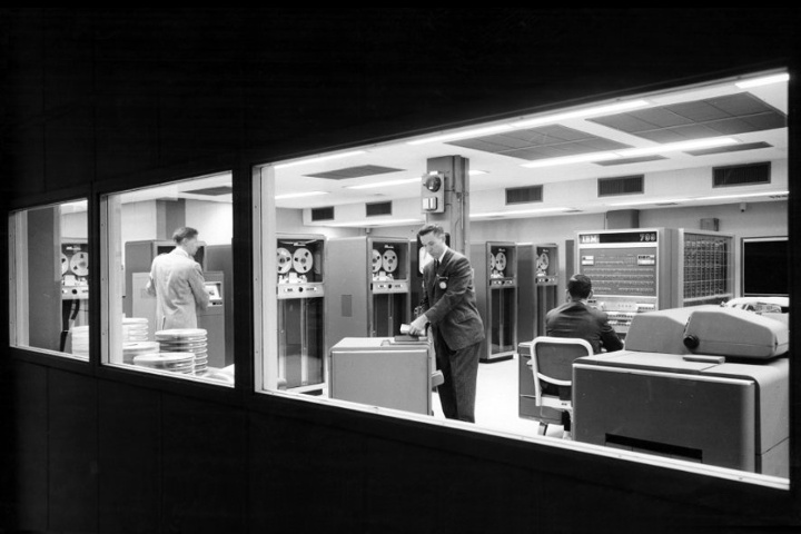 A glass room circa 1958, housing a then-new IBM computer (source:  Computer History Museum, courtesy of IBM )