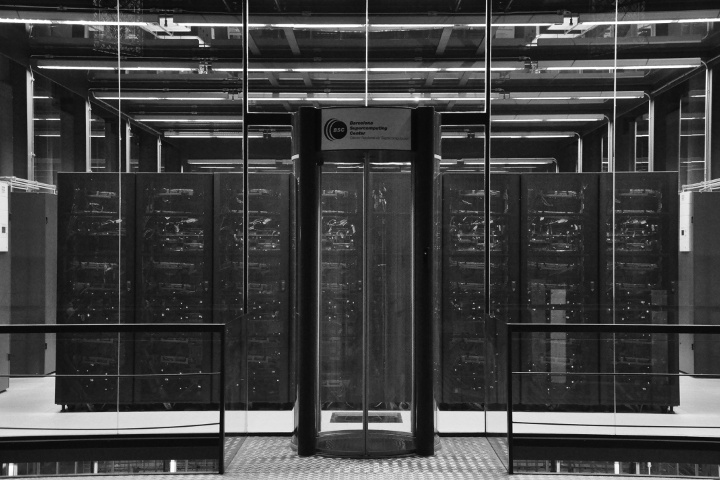 A glass room in 2016, housing one of the world's top 100 most powerful supercomputers (source:  Wikipedia )