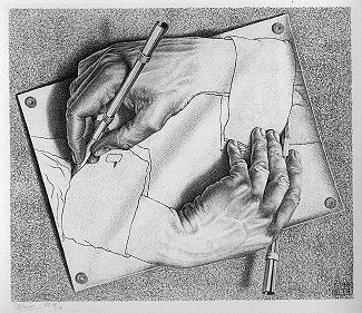 """Drawing Hands,"" by M. C. Escher. (Image source:  Wikipedia . We believe our use of this low-resolution image here qualifies as  fair use  under US copyright law.)"