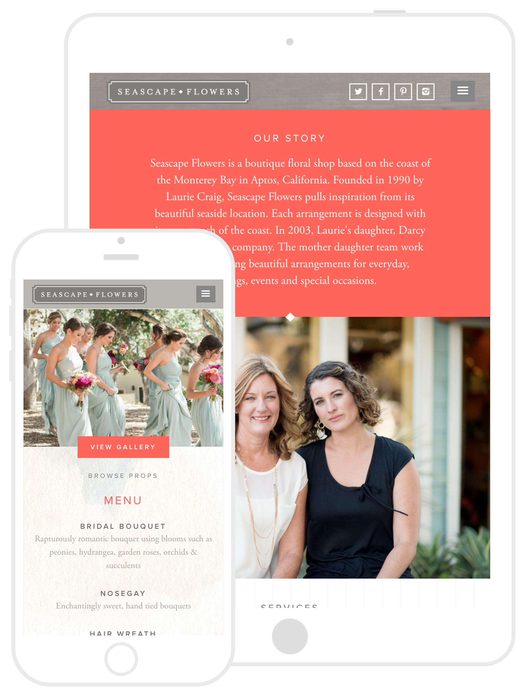 Responsive Web Design by Second + West for Seascape Flowers