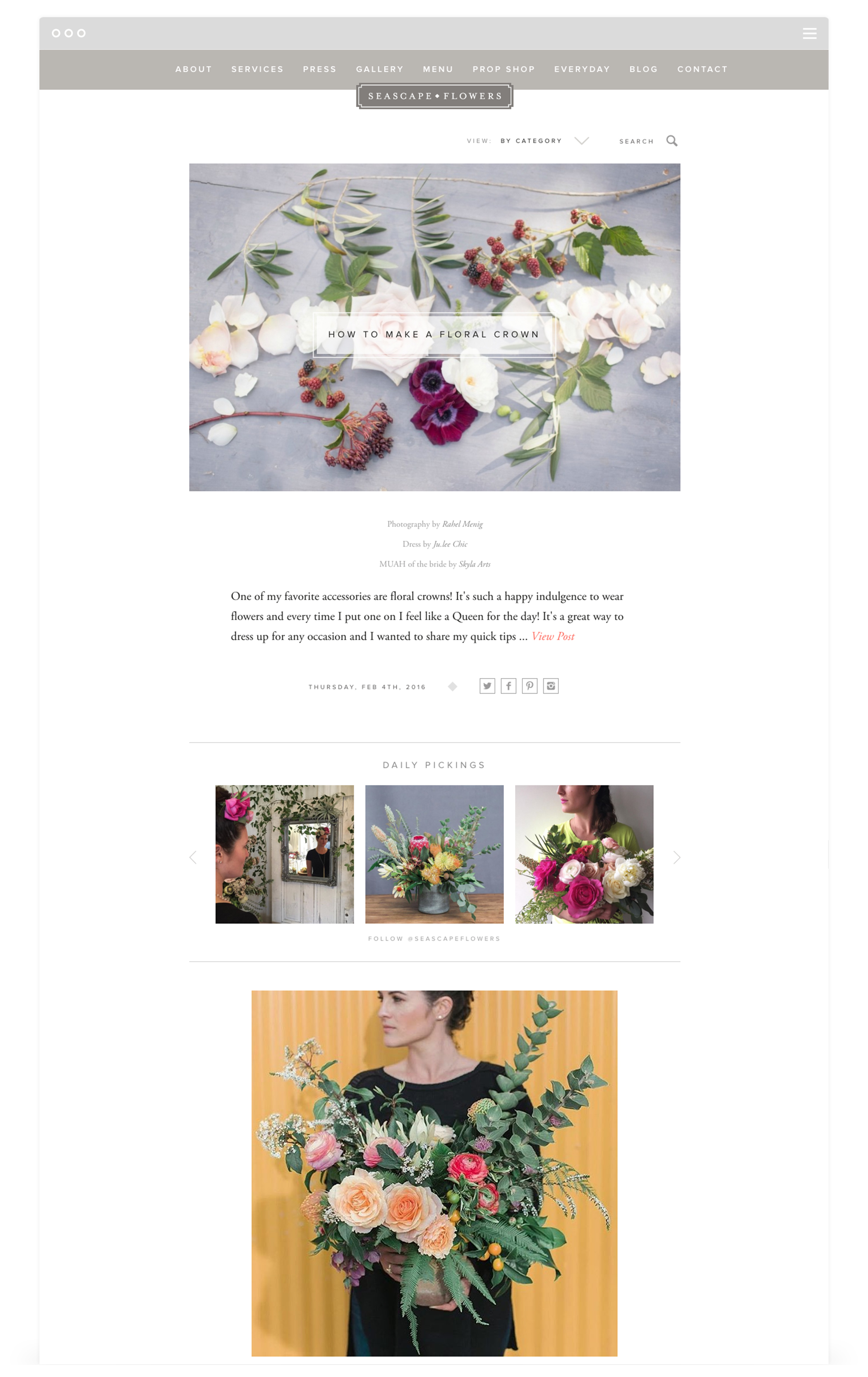 Website Development by Second + West for Seascape Flowers