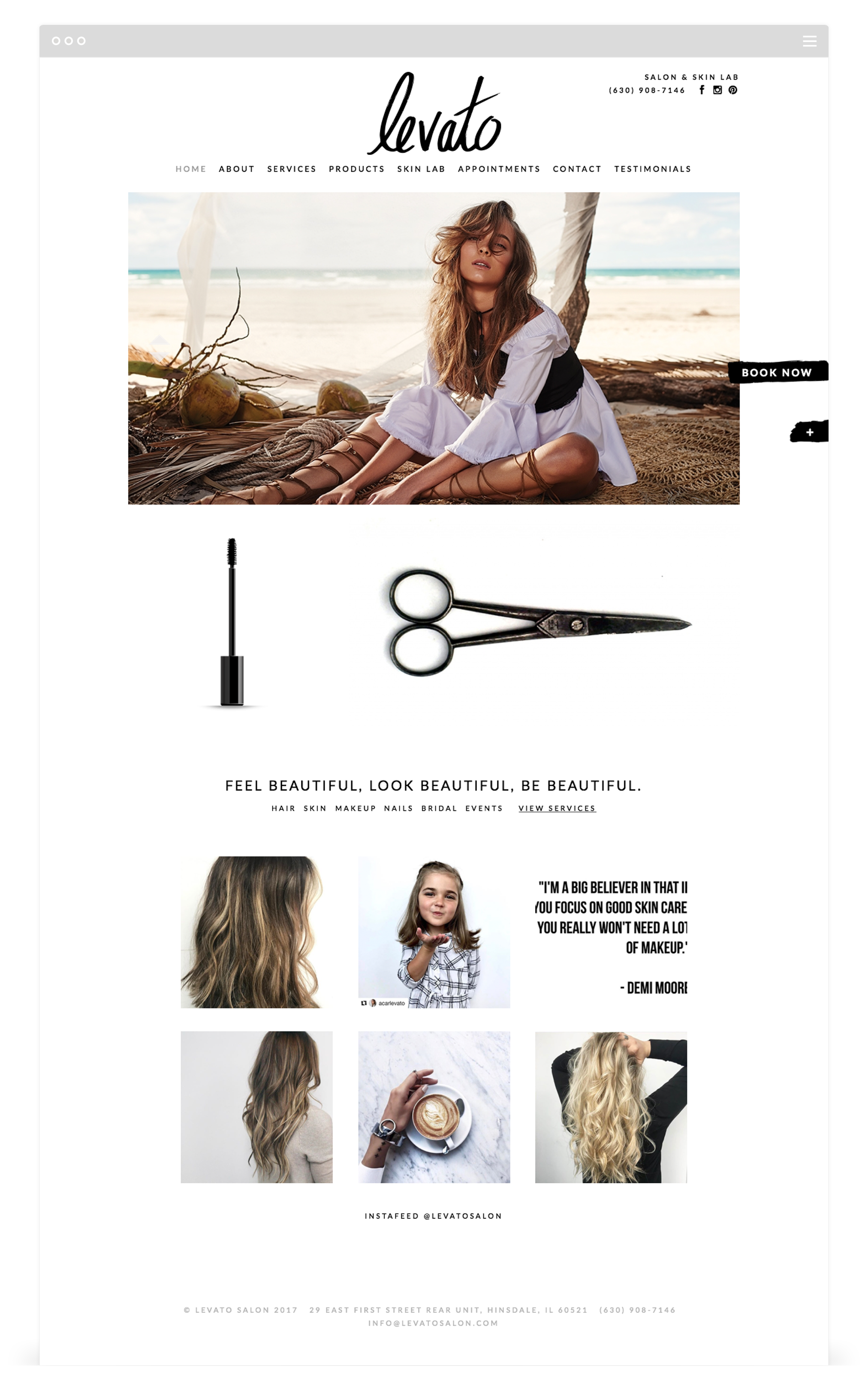Website Development by Second + West for Levato Salon in Hinsdale, IL