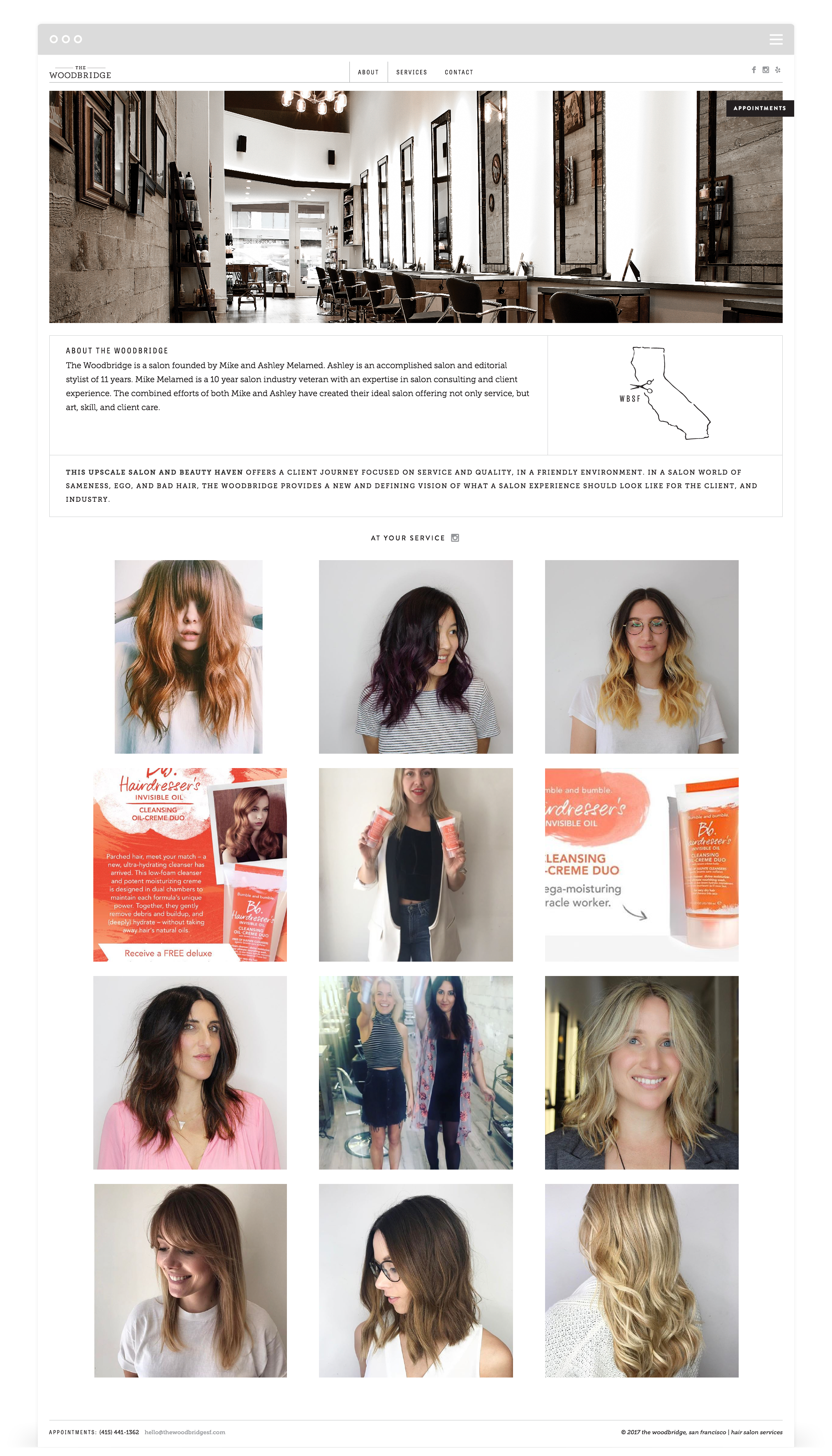 Website Development by Second + West for The Woodbridge Salon in San Francisco, CA