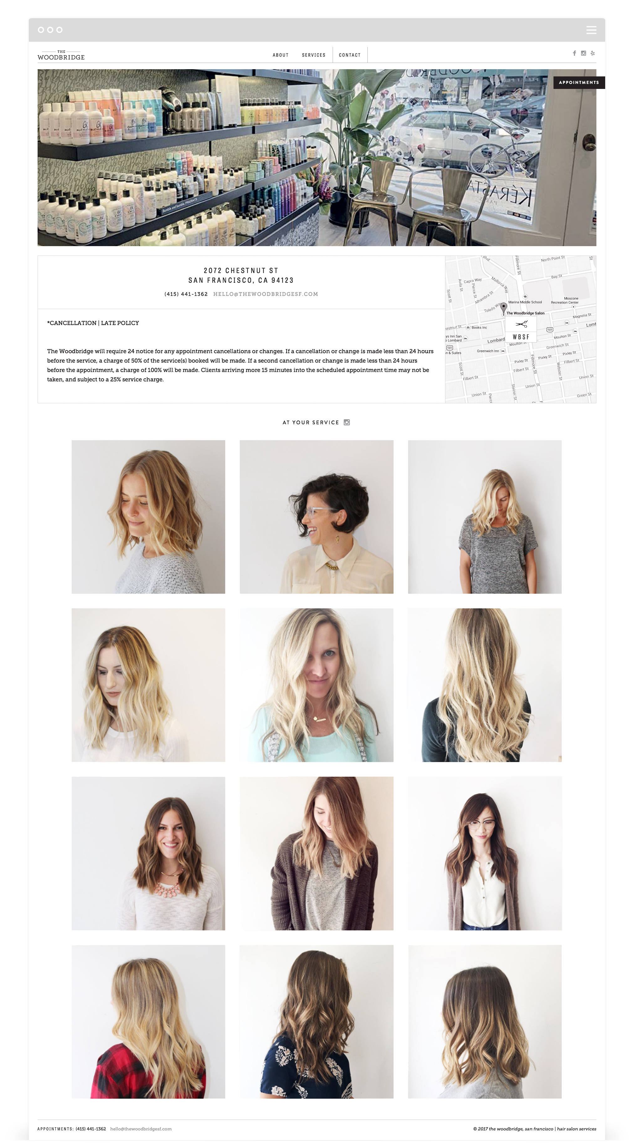 Second + West Website Development for The Woodbridge Salon