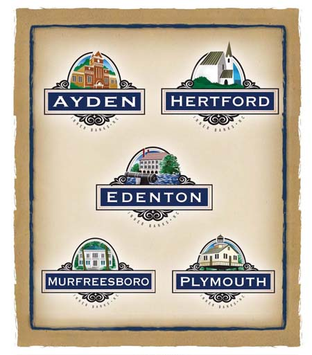 Distinct family of sustainable tourism brand logos that highlight the history of each town
