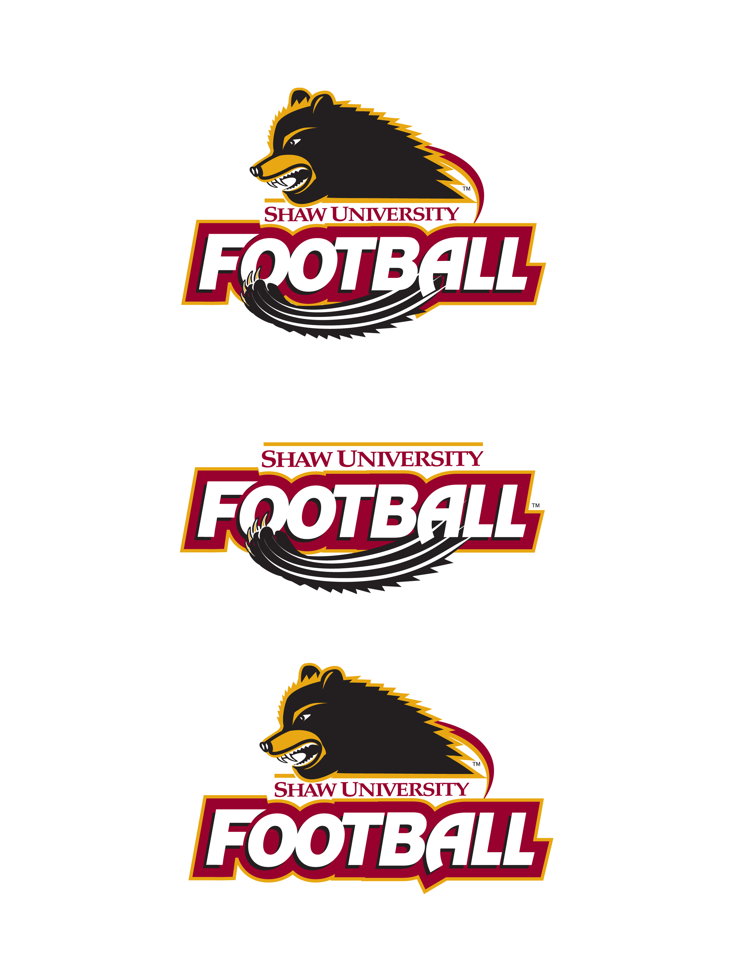 Shaw University athletic logo - football - designed by vitalink