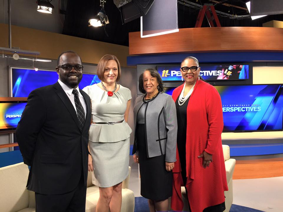 (Left to right) Marc Newman, Jeanne Frazer (co-chair), Lori Jones Gibbs (co-chair) + Terry Spicer at ABC to talk about the inaugural UNCF Mayor's Masked Ball