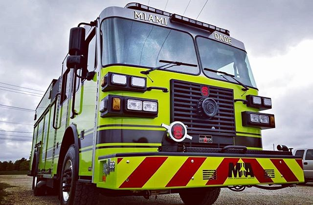 They're usually Red and Chrome. @sutphenfire builds a fine truck and we really like this one in Green and Black.  #firetrucks #3mreflective #chevron #stripeguy #applicationstation #v98 #conspicuityfilms #oracal