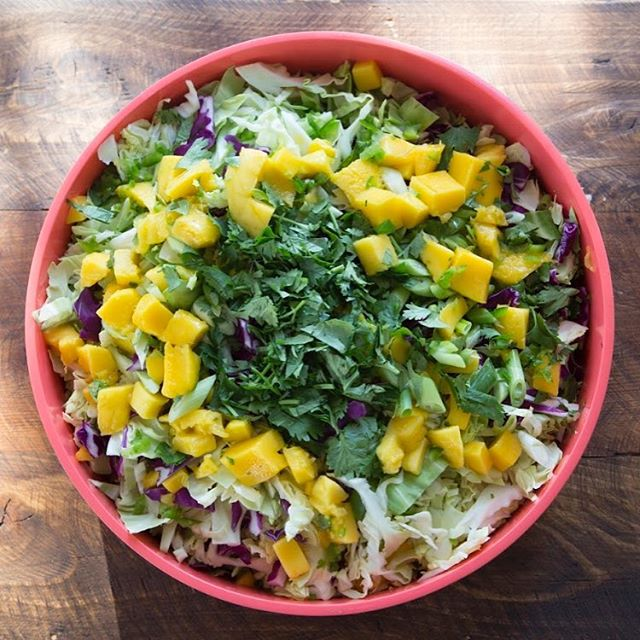 The perfect side dish! Mango jalapeño slaw. Red & green cabbage, cilantro, juicy mango & jalapeño. Toss it up with a little macadamia nut oil, coconut vinegar, honey, good smoked paprika, lime & sea salt. Dynamite.