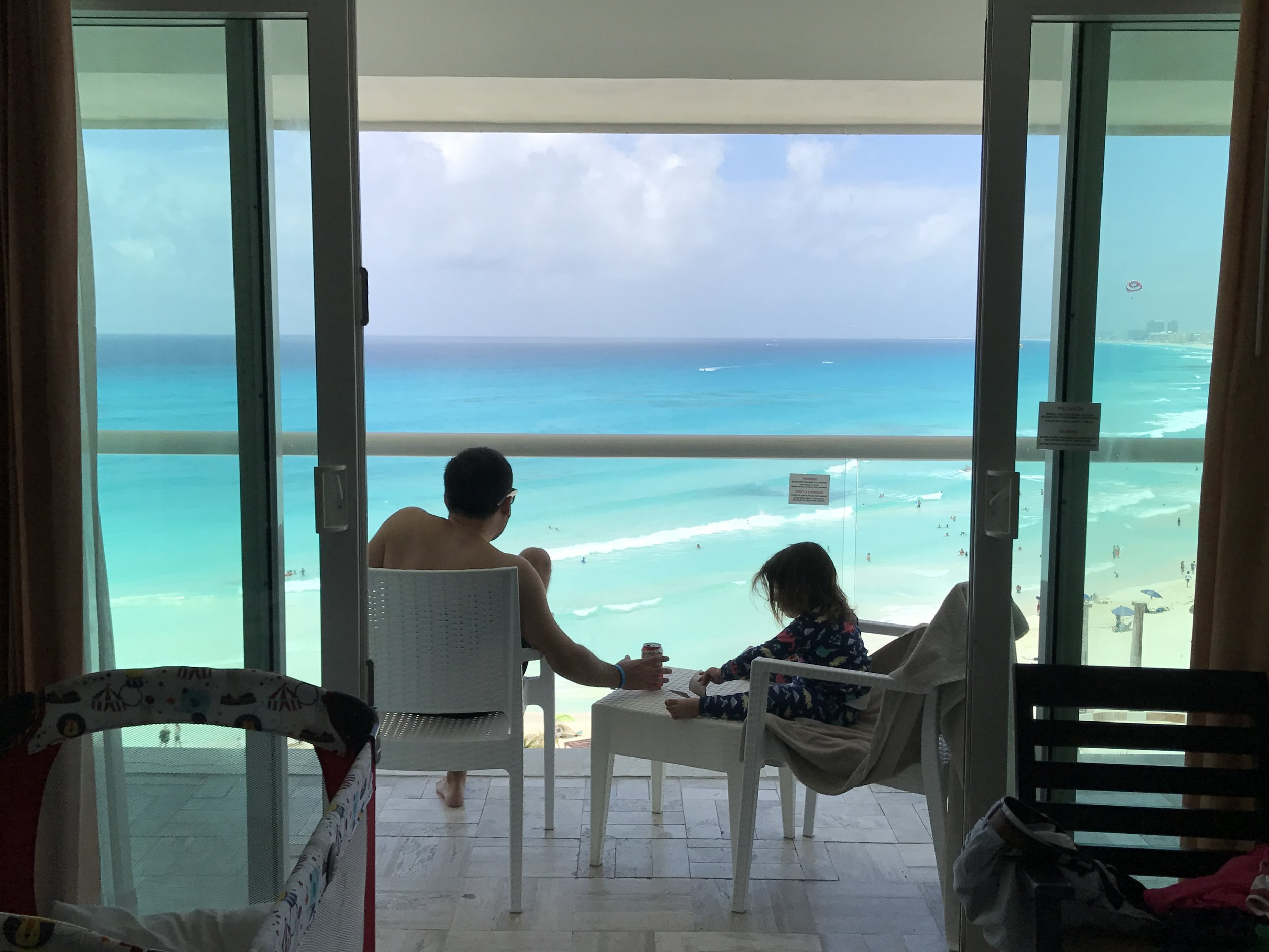 view from our hotel room at the Kristal Cancun