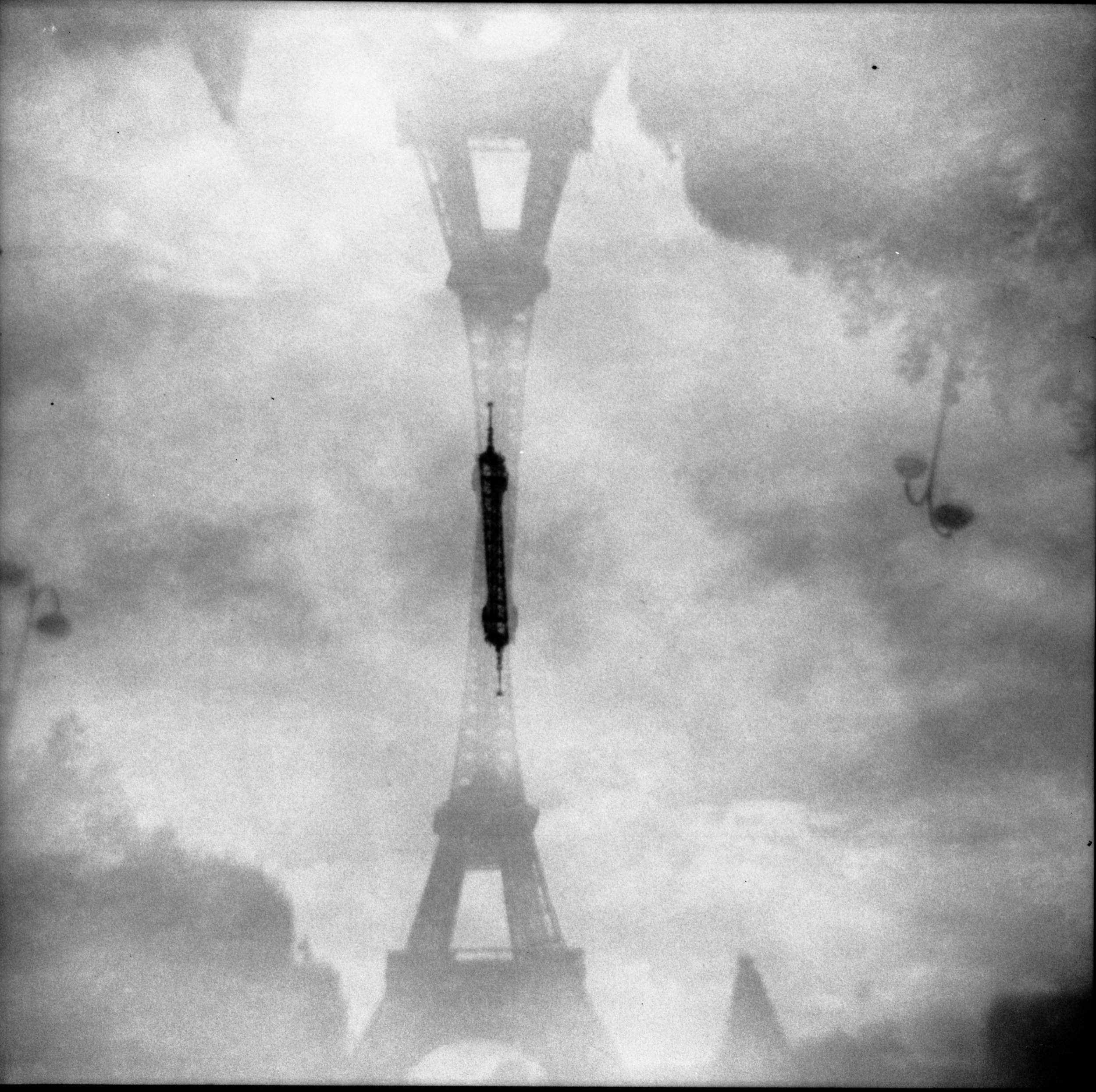black and white double exposure of the Tour Eiffel