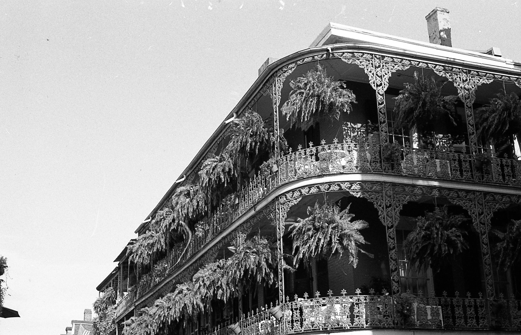 classic New Orleans balcony on 35mm black and white film