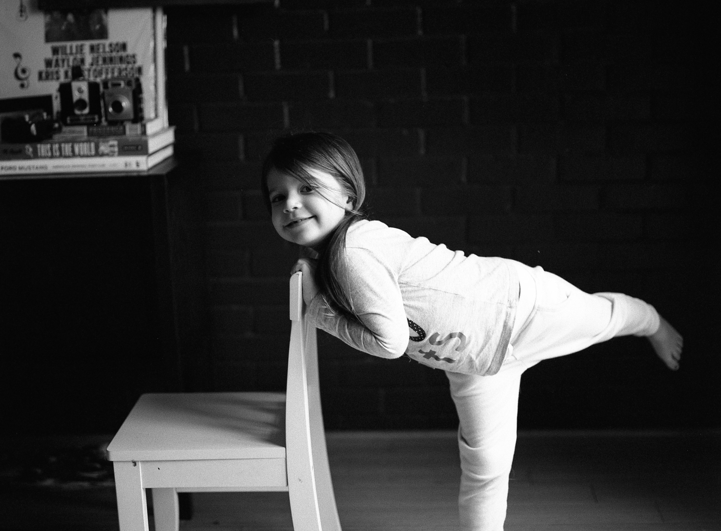 black and white indoor portraits