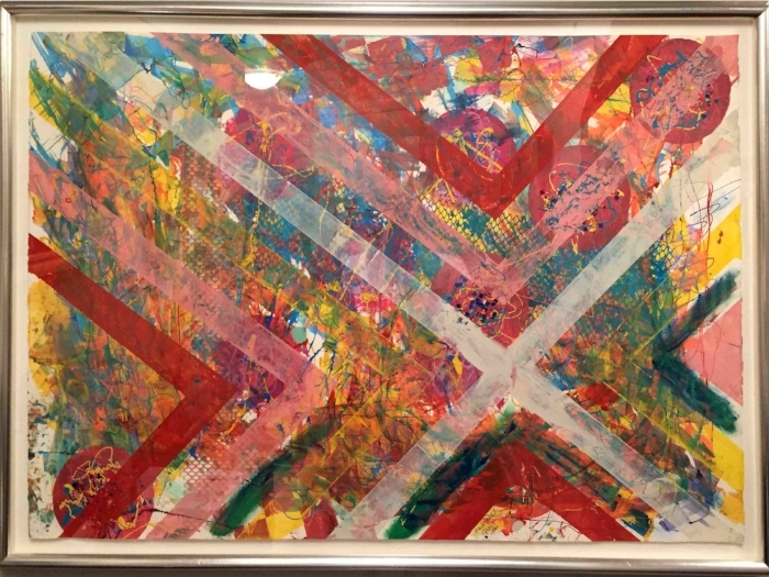 """Quilt""  by Mark Buck, 1987  -  Serigraph / SilkScreen with Confetti on Paper   Edition 1 / 1"