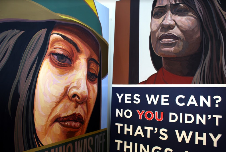 Photo from Andrew Kennedy. Painting on the right:  Timing , on the left:  You Fight.