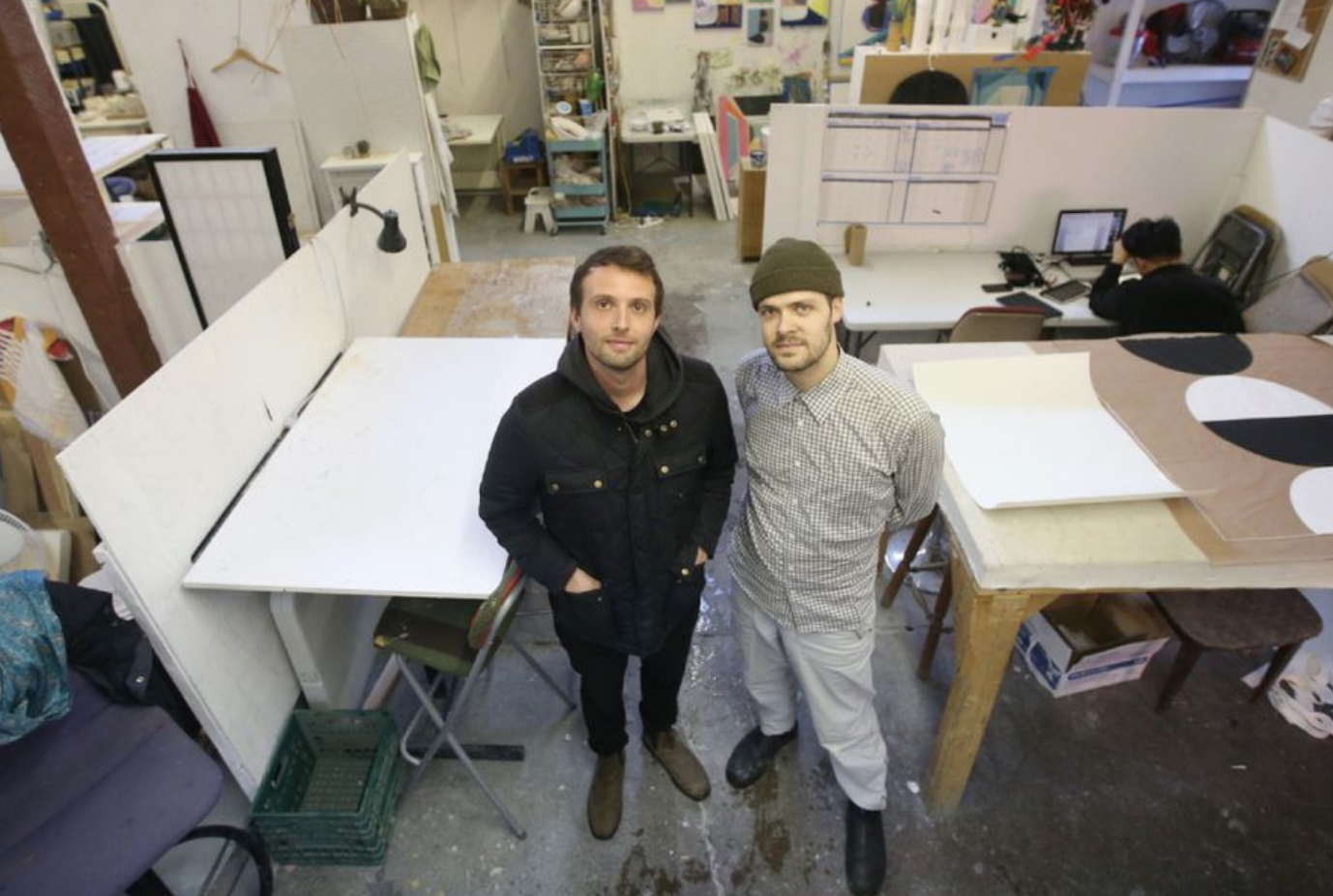 Two artists standing in an art studio in Toronto. Photo: Vince Talotta for the Toronto Star