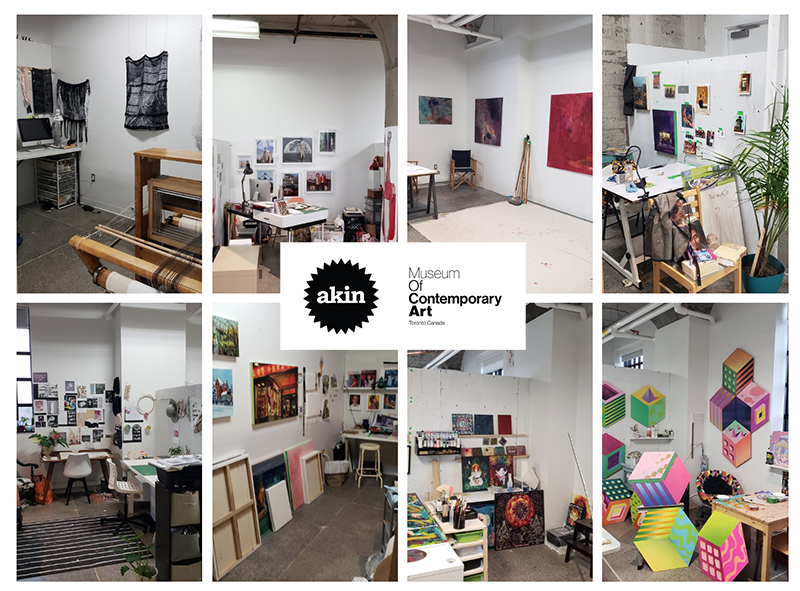 Photographs of the studios of the following artists:  Top Row, left to right: Helen Liene Dreifelds, Walter Segers, Maren Boedeker, and Raoul Olou.  Bottom row: Adria Mirabelli, Liang Wang, Jennifer Dany Aubé, and Jieun June Kim