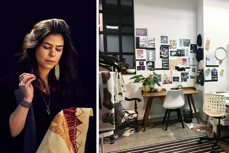 Left: Photo of artist Samar Hejazi. Photo by Shannon McClatchey. Right: Adria Mirabelli's studio. Courtesy of the artist.
