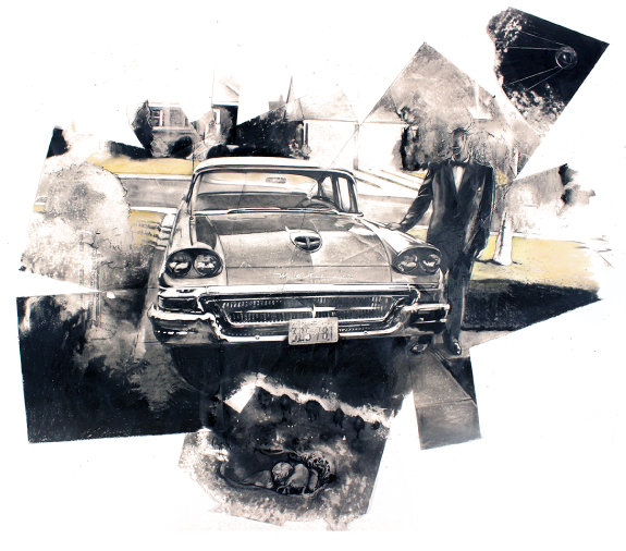 Mercury Meteor, 1958, approx. 10 ft x 8 ft – charcoal and chalk on paper. 2019