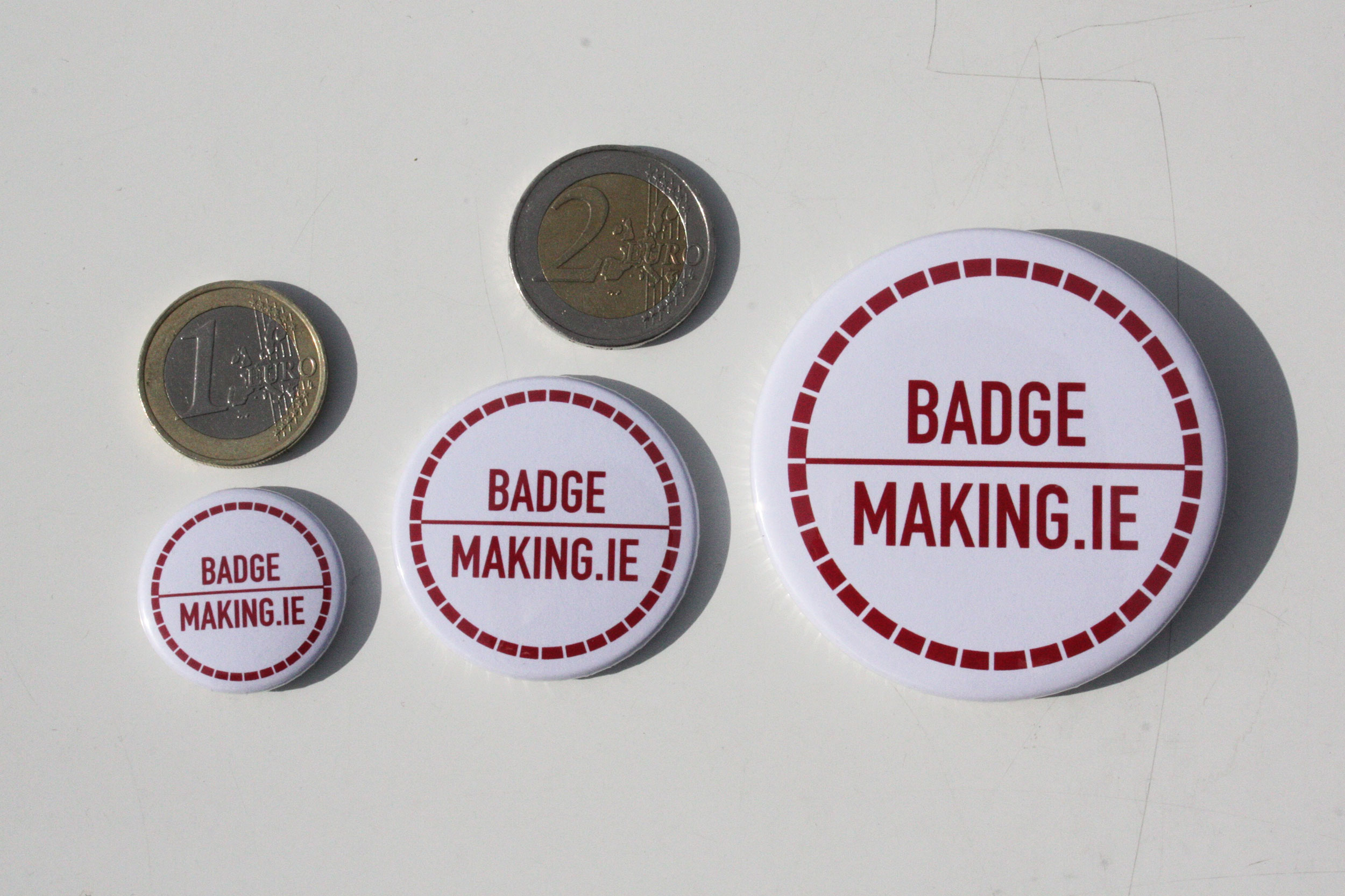 25mm, 38mm and 58mm Badge Sizes