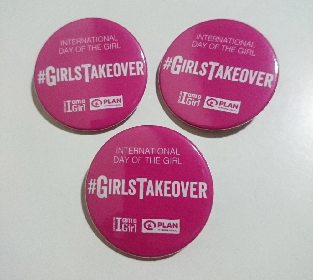 International Day of the Girl hashtag badges