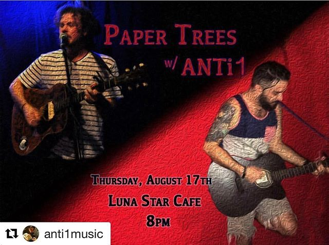 #Repost @anti1music (@get_repost) ・・・ A night of #folk at #lunastarcafe featuring @eking_itchy of @paper_trees_productions (Paper Trees on @spotify) with me #anti1music opening the night. Event is free. Cash only for food and drink. Try the hummus! #livemusic #southfloridamusic #miamimusic #miamimusicscene #musiclife #musicianlife #alternative #music #supportyourlocalartists #supportyourlocalbusiness #southflorida