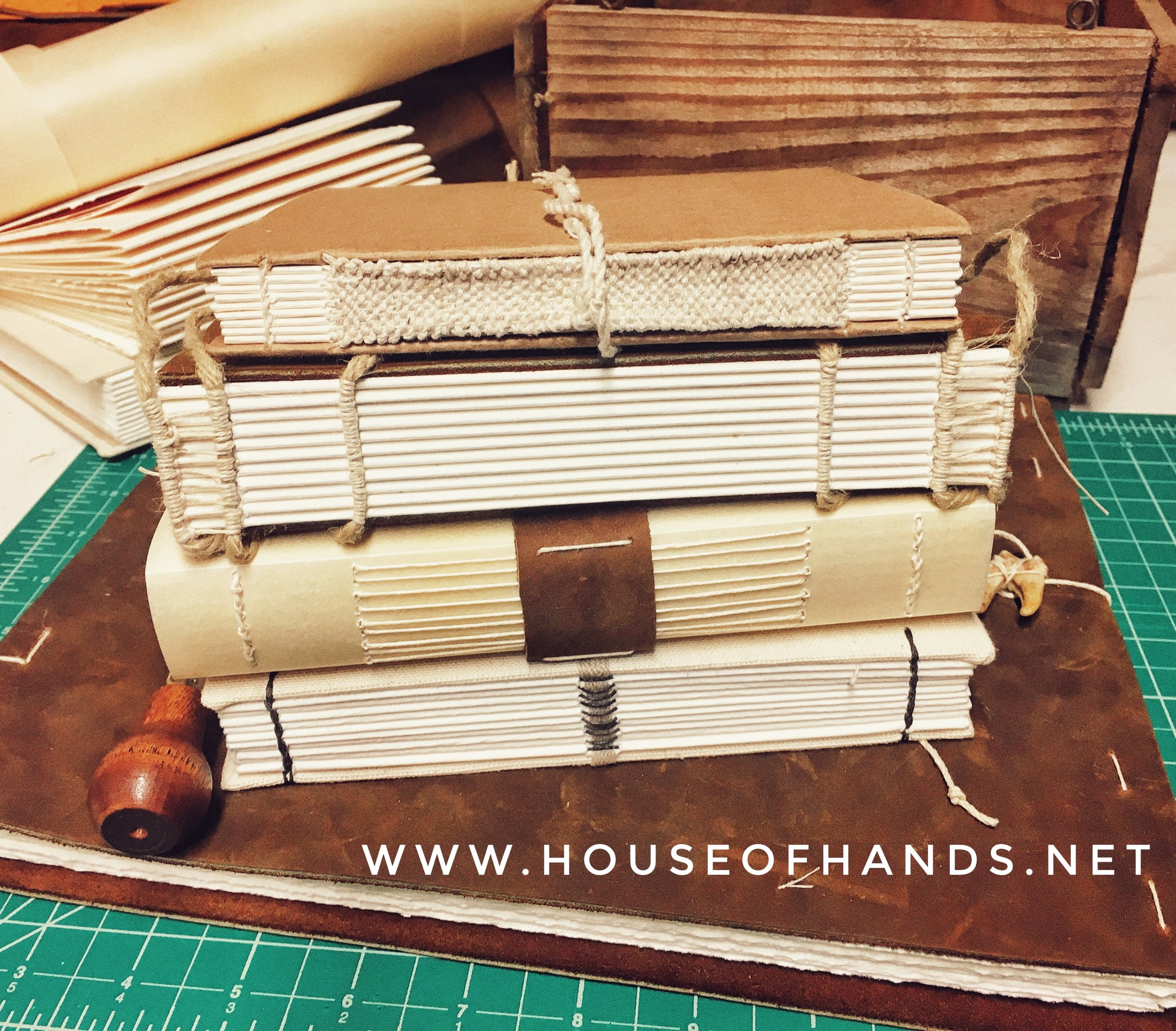 A selection of handmade books.