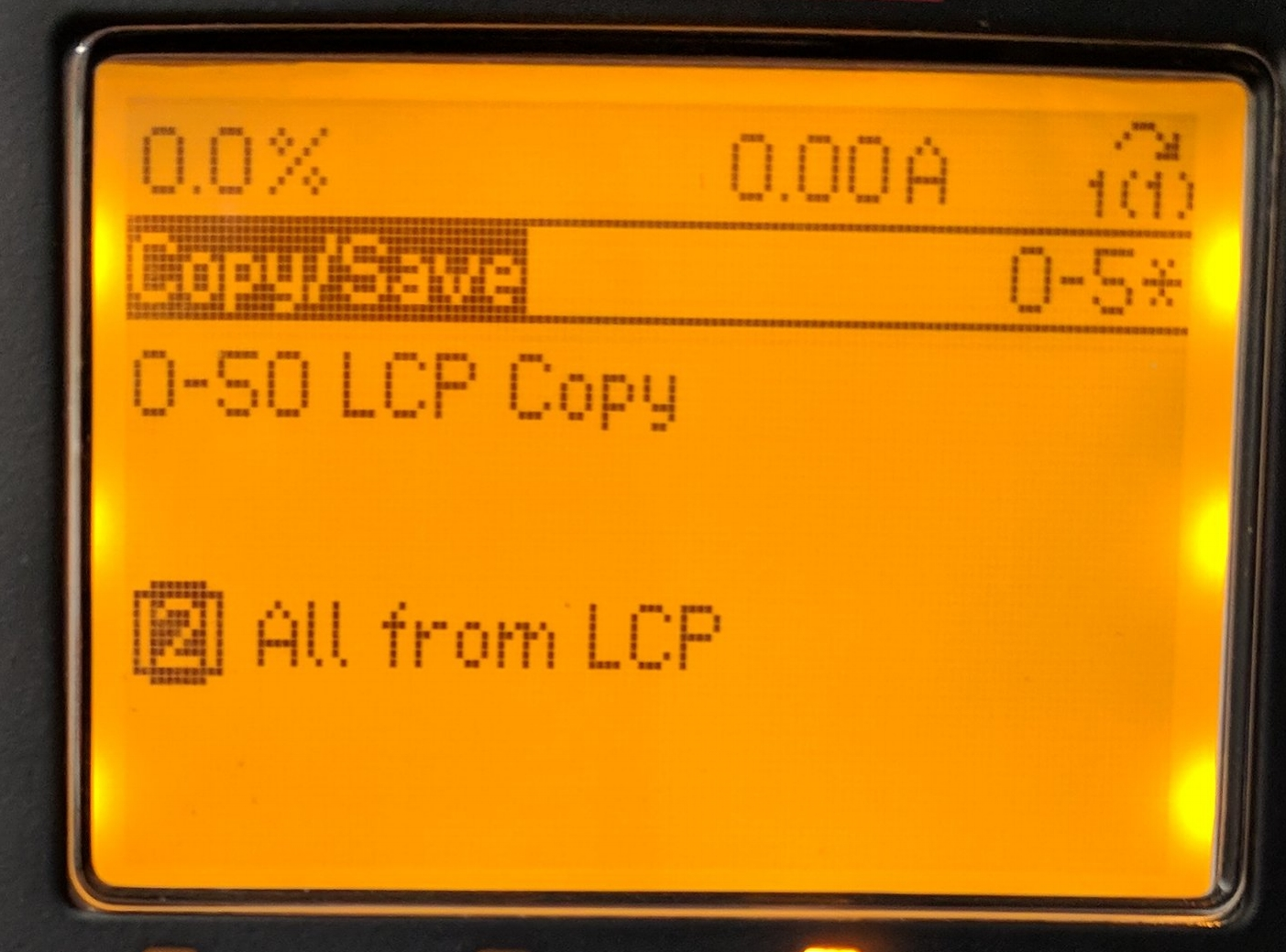 Copying FROM the Keypad into the drive