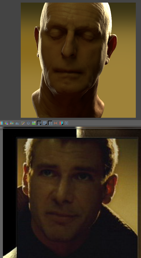 V-Ray skin shader test (model and texture are scan data)