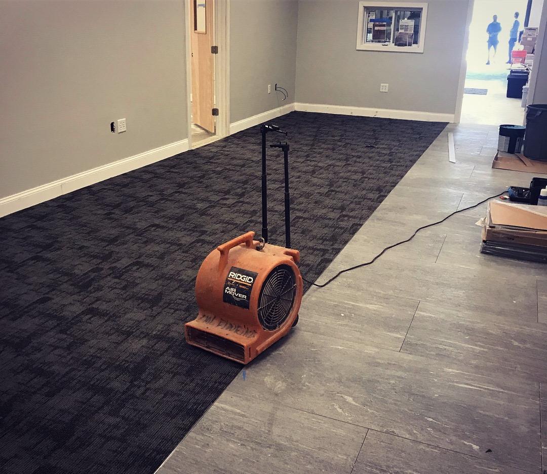 Drying that carpet tile adhesive….