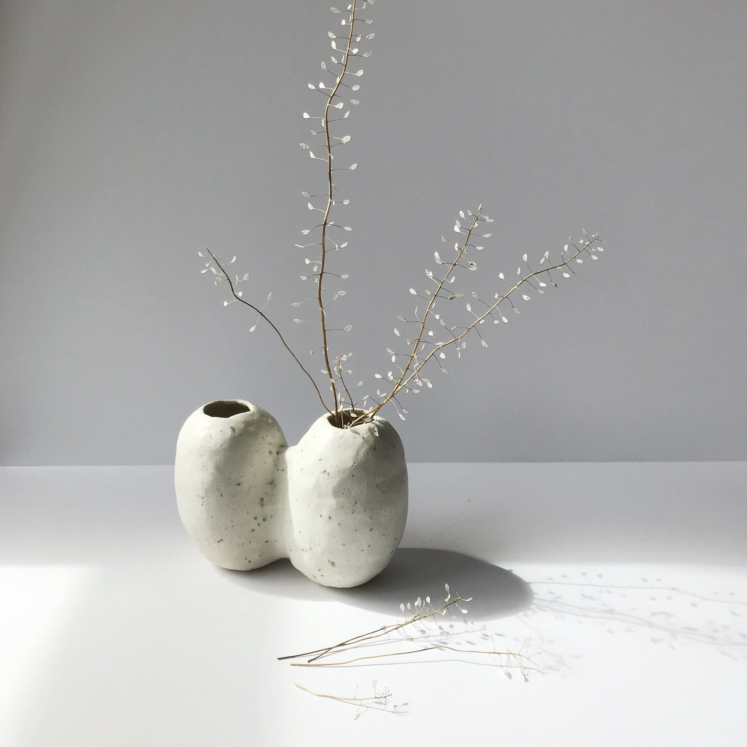 """TWIN NIWAKI VASE  hand build stoneware bud vase  measures approx. approx. 6.5"""" across x 3"""" wide x 5"""" tall $60 Wholesale 