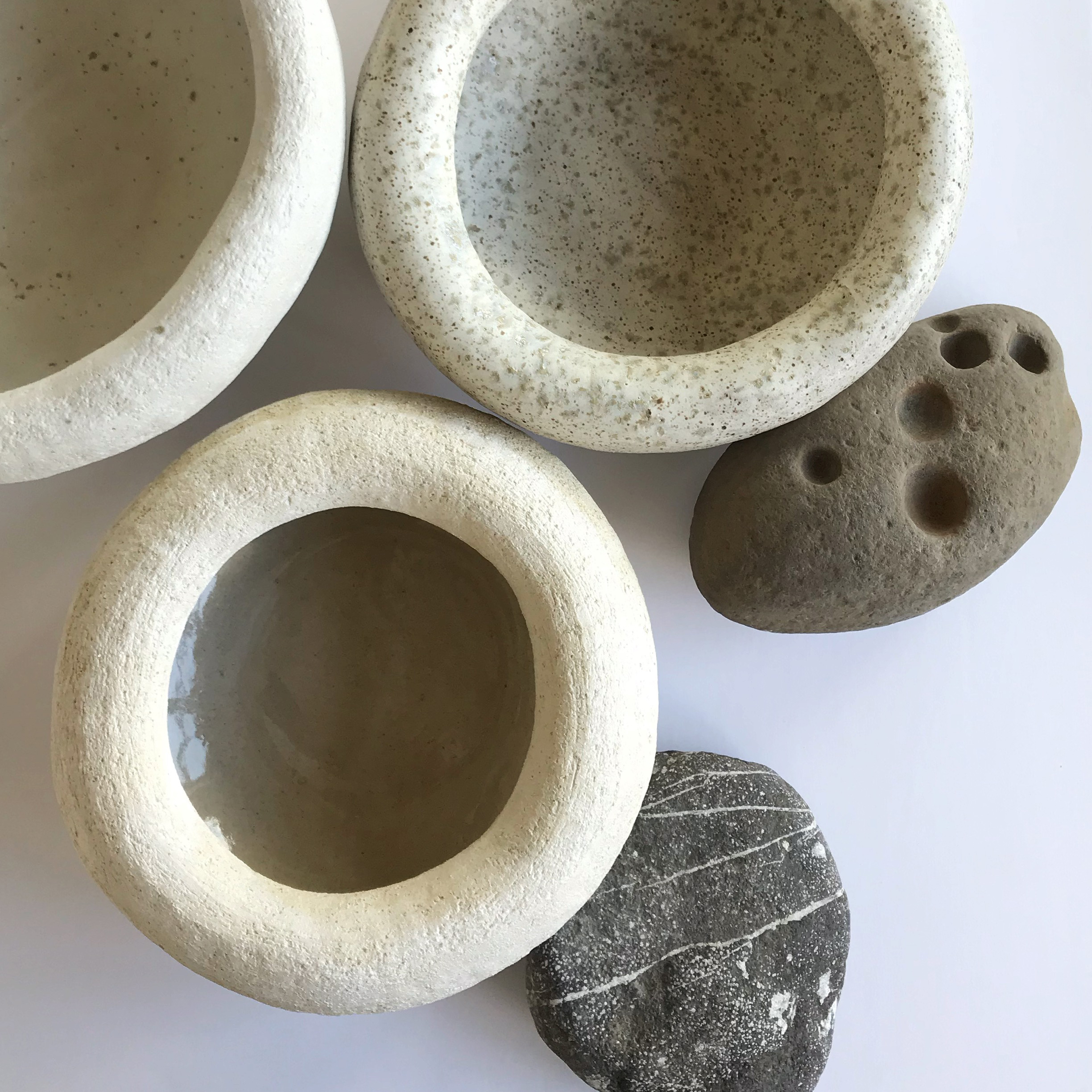 """ROLY POLY BOWL  hand build stoneware bowl - available in salt, freckle or dough  measures approx. 9.5"""" in diameter, stands approx. 4"""" tall $60 Wholesale 