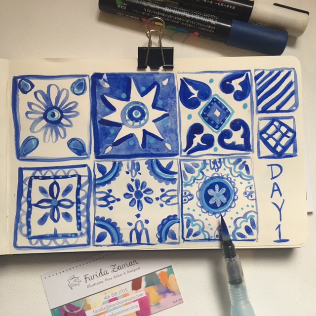 watercolour blue tile painting drawing artwork Farida Zaman