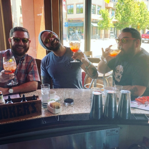 Adam Welch, Danny O & Franco enjoying Aperol Spritz Life @ Jacksons Bar & Oven in Santa Rosa, Ca