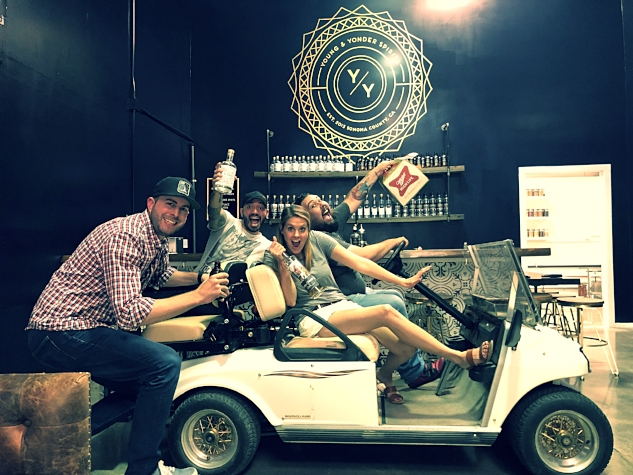 Josh, Danny O, Sarah, Franco & Miller High Life riding in style at Young and Yonder Distillery in Healdsburg, Ca