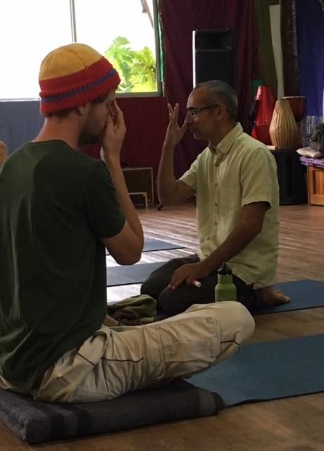 Bharat demonstrates the 'Nadi Shodana' technique