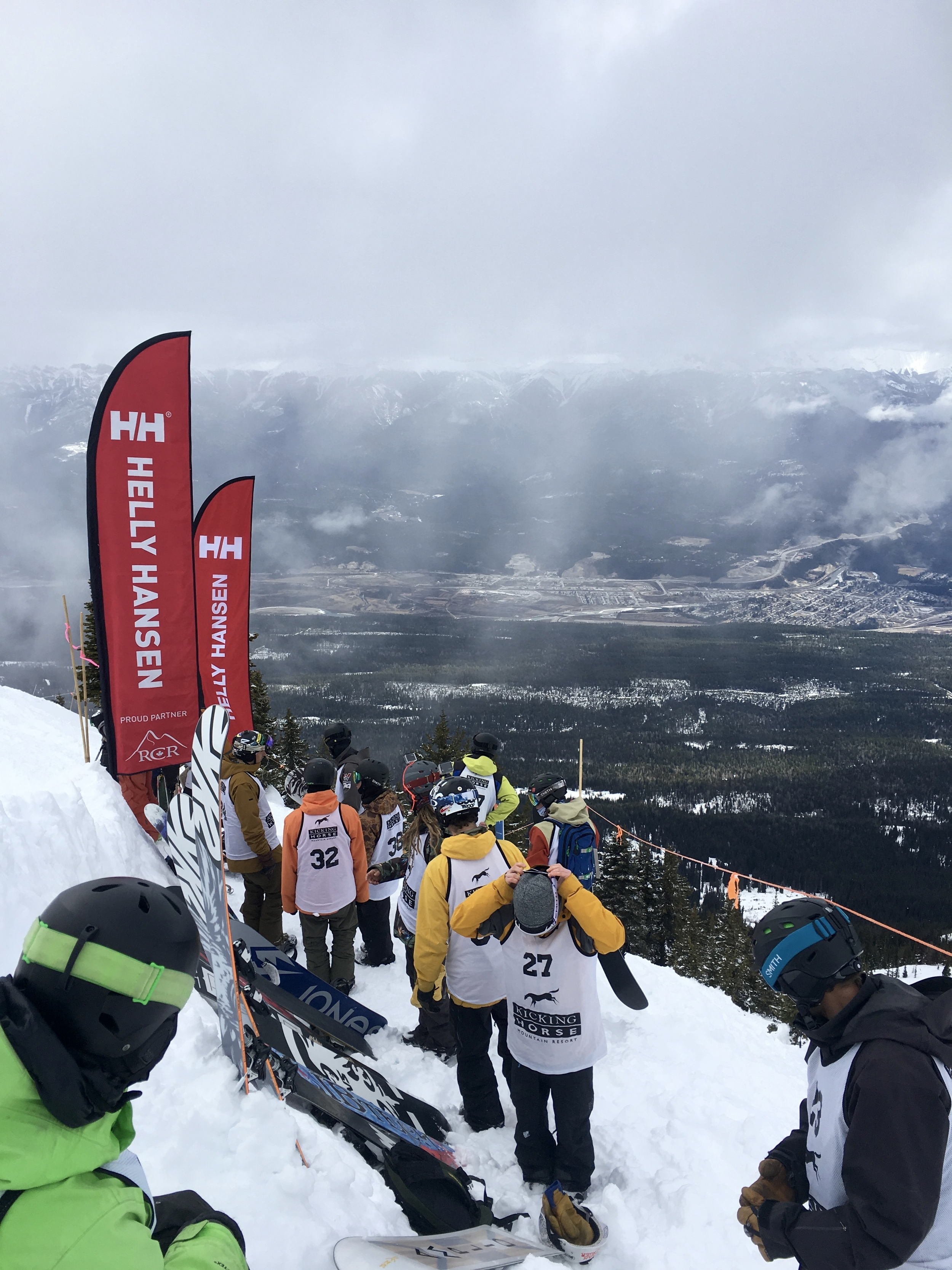 Mens snow starting gate with the town of Golden, BC in the background.  Photo: Zach Husted