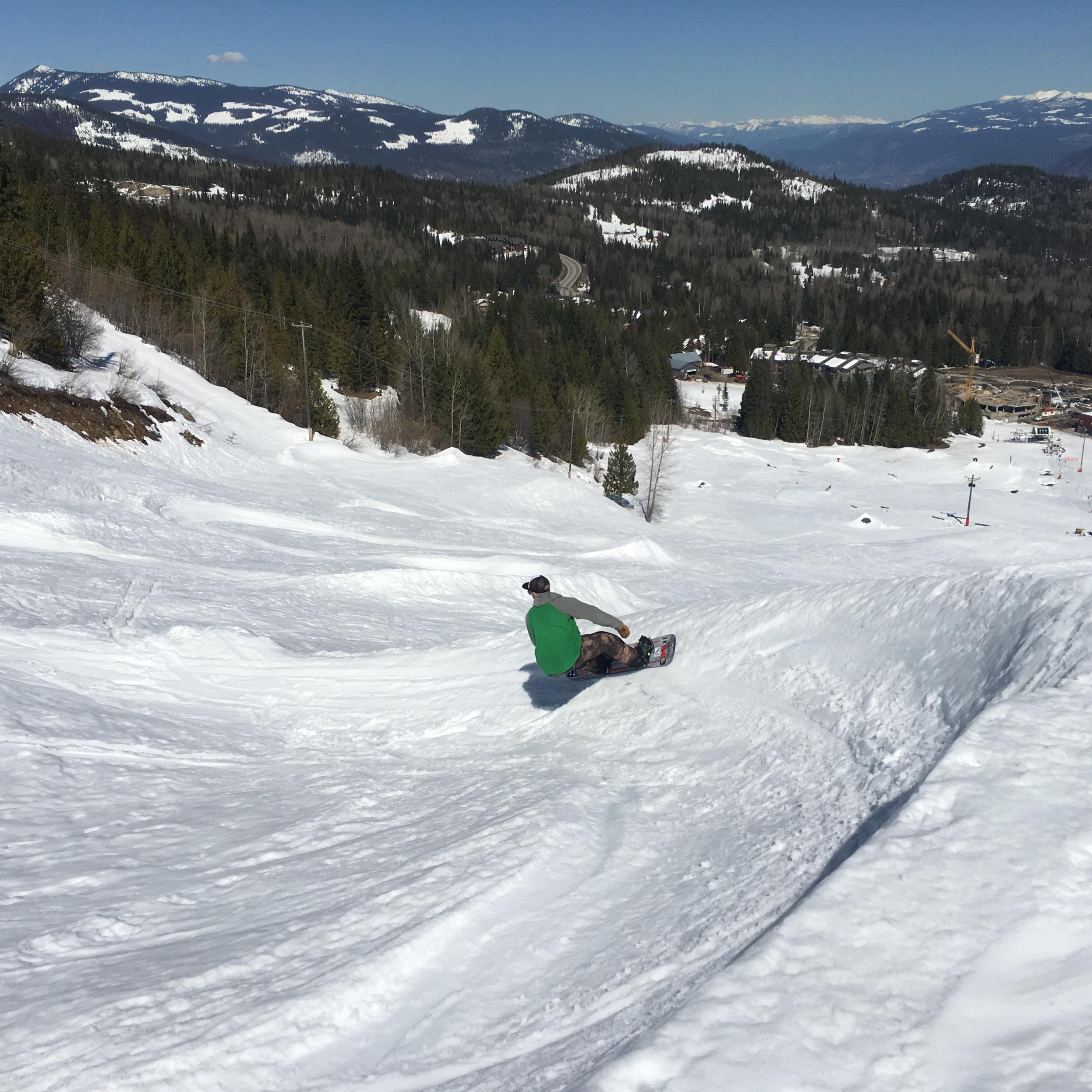 Brian smashing down the banked slalom at Red Mountain Resort  Photo: Zach