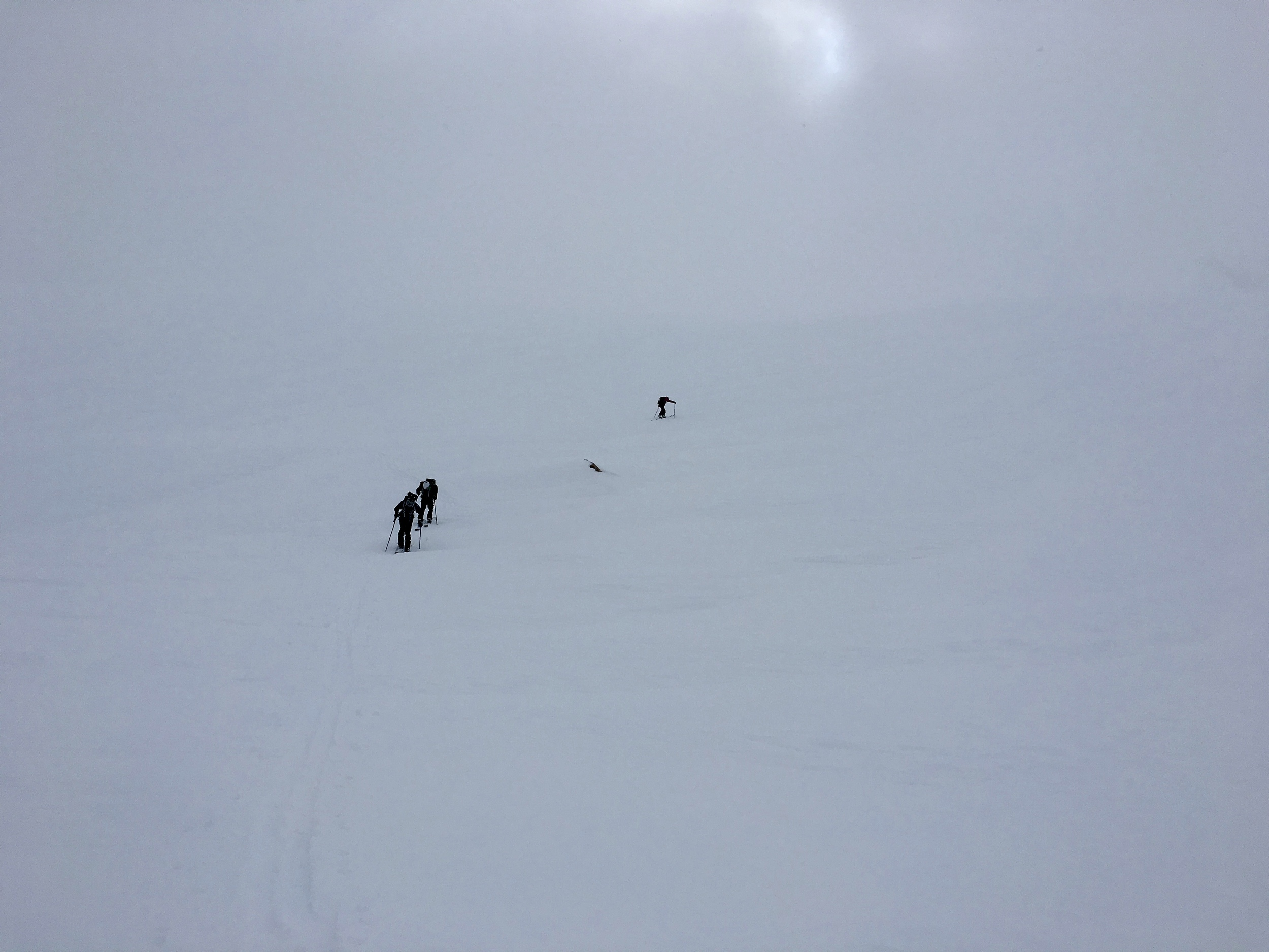 Heading ip Young Peak in straight whiteout conditions   Photo:Zach
