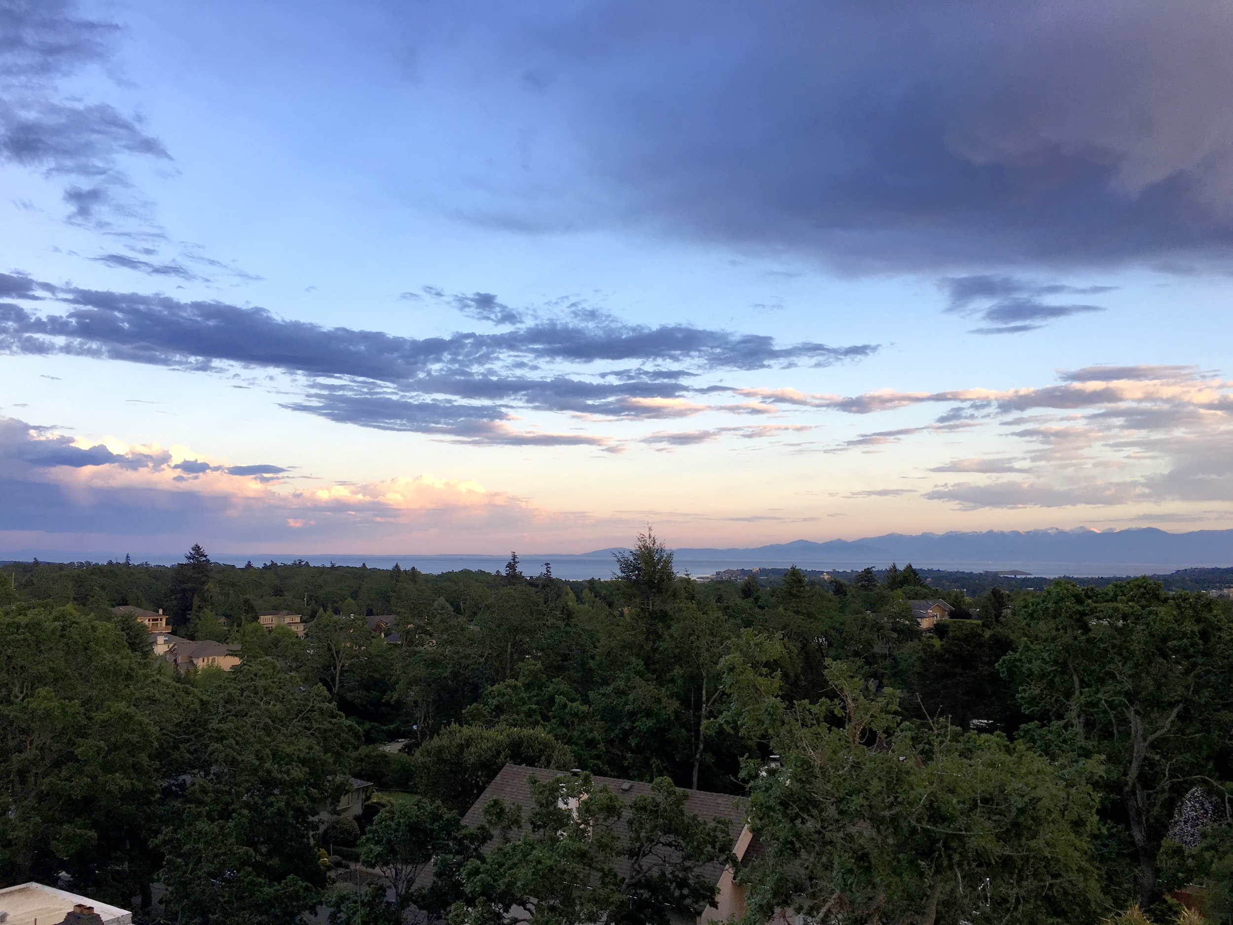 View from Troy's Balcony in Victoria looking across the Strait of Juan de Fuca,South towards the Olympic Mountain Range  Photo:Zach Husted