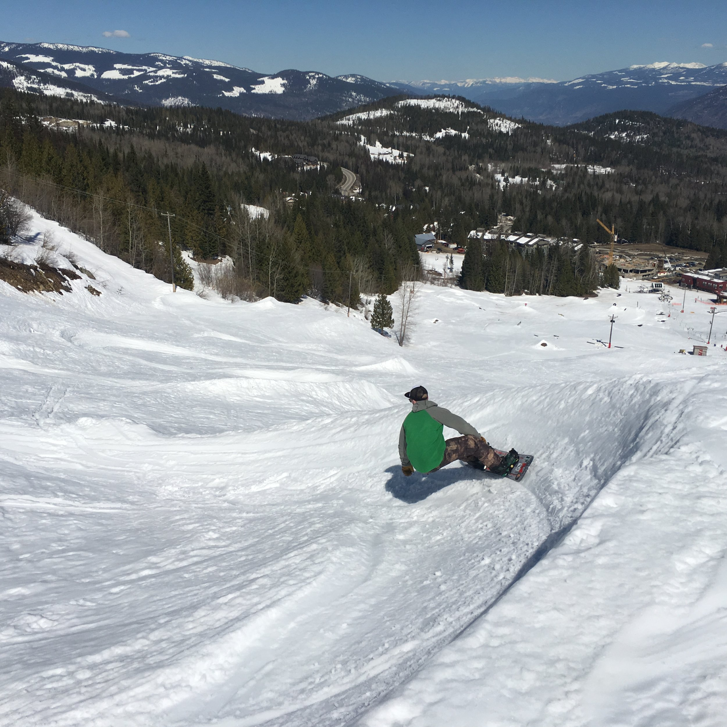Brian smashing down the banked slalom at Red Mountain Resort  Photo: Zach Husted