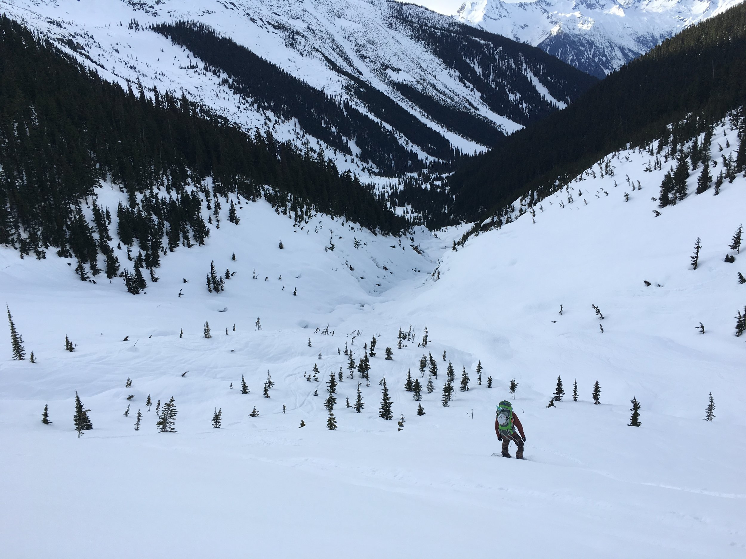Brian sliding into the Mouse Trap on the ride back to Rogers Pass  Photo: Zach Husted