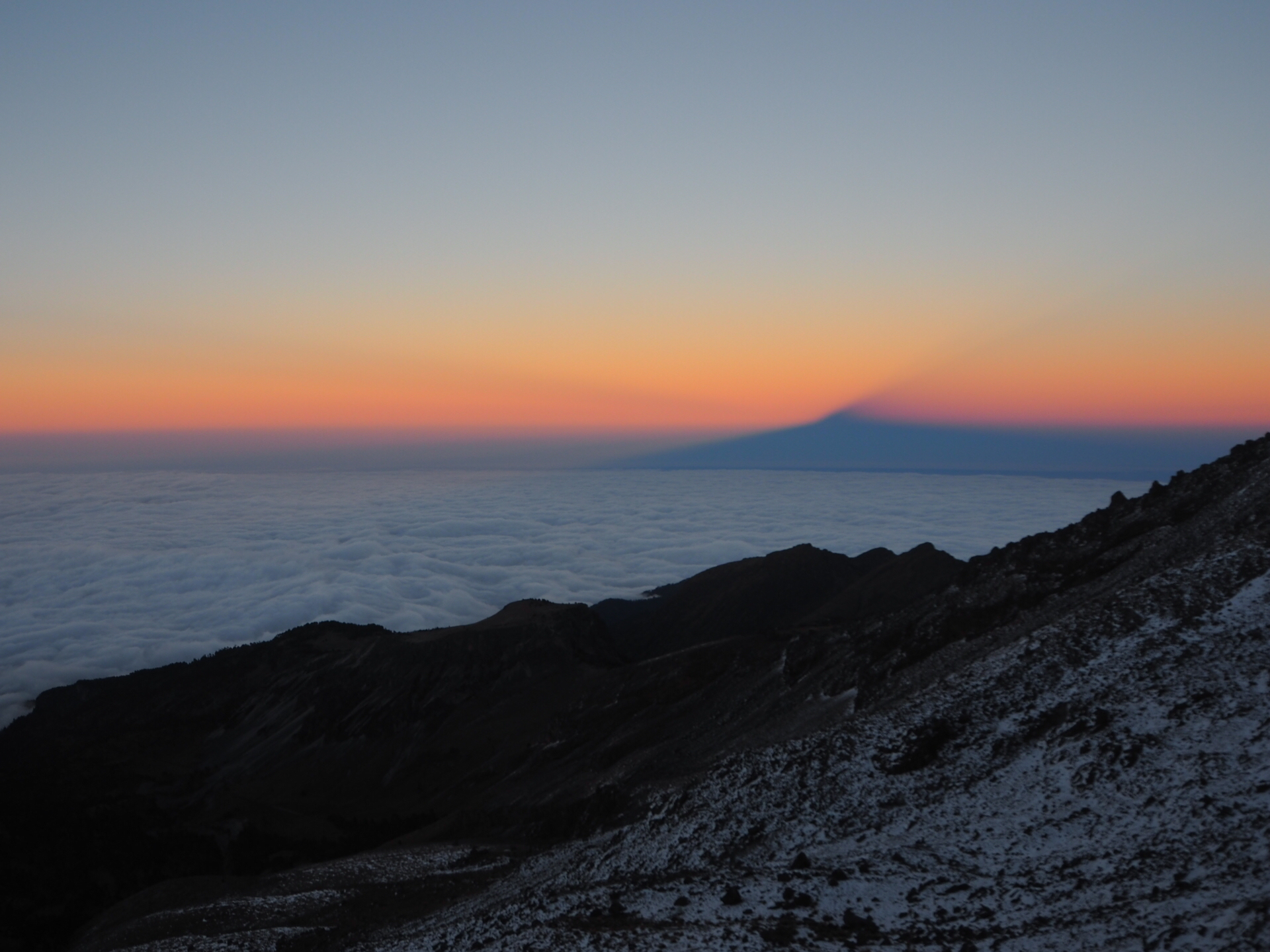 Sunset with the  pyramid shadow of Pico De Orzaba
