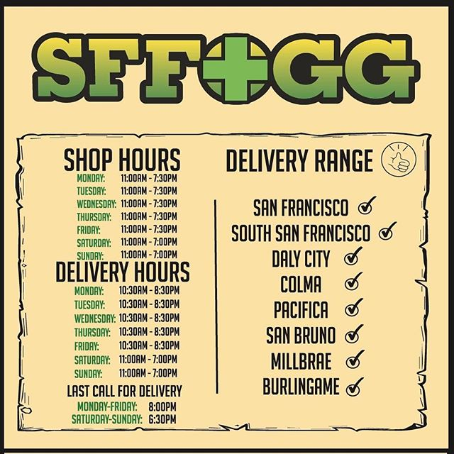 New Hours - New Range - Same SFFOGG 💨 Starting today (4/22)! 💨 💨  #sffogg415 #dispensary #delivery #AdultUse #Recreational #wax #sf #flowers #medicalmarijuana #sativa #indica #hybrid #vape #vapecart #vaporizer #shatter #concentrates #c02 #painrelief #edibles #medicine #insomnia #sanfrancisco #marijuana #cannabis #sleepaid #PatientAppreciation